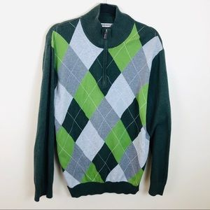 Old Navy Green Argyle Sweater Sz XL
